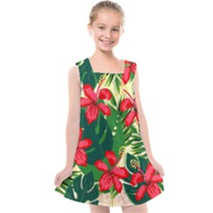 Floral Pink Flowers Kids  Cross Back Dress by Mariart