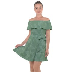 Asparagus Green Butterfly Print Off Shoulder Velour Dress by SpinnyChairDesigns