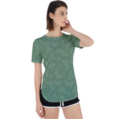 Asparagus Green Butterfly Print Perpetual Short Sleeve T-shirt
