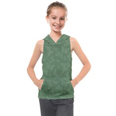 Asparagus Green Butterfly Print Kids  Sleeveless Hoodie by SpinnyChairDesigns