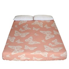 Peaches And Cream Butterfly Print Fitted Sheet (king Size) by SpinnyChairDesigns