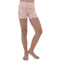 Peaches And Cream Butterfly Print Kids  Lightweight Velour Yoga Shorts