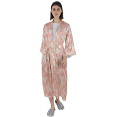 Peaches And Cream Butterfly Print Maxi Satin Kimono by SpinnyChairDesigns