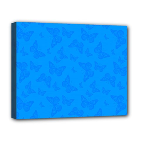 Cornflower Blue Butterfly Print Deluxe Canvas 20  X 16  (stretched)