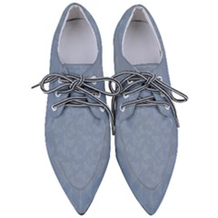 Faded Blue Butterfly Print Pointed Oxford Shoes