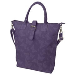 Grape Compote Butterfly Print Buckle Top Tote Bag