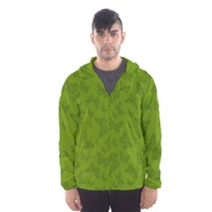Avocado Green Butterfly Print Men s Hooded Windbreaker by SpinnyChairDesigns