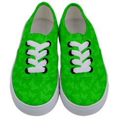 Chartreuse Green Butterfly Print Kids  Classic Low Top Sneakers
