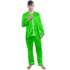 Chartreuse Green Butterfly Print Men s Long Sleeve Satin Pyjamas Set