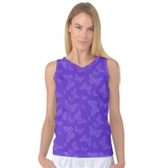 Violet Purple Butterfly Print Women s Basketball Tank Top by SpinnyChairDesigns