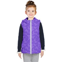 Violet Purple Butterfly Print Kids  Hooded Puffer Vest by SpinnyChairDesigns