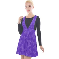 Violet Purple Butterfly Print Plunge Pinafore Velour Dress by SpinnyChairDesigns