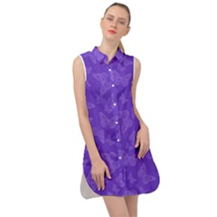 Violet Purple Butterfly Print Sleeveless Shirt Dress by SpinnyChairDesigns