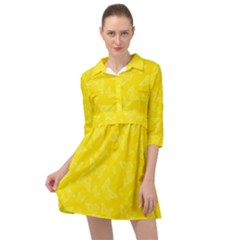 Lemon Yellow Butterfly Print Mini Skater Shirt Dress by SpinnyChairDesigns
