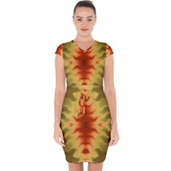 Red Gold Tie Dye Capsleeve Drawstring Dress