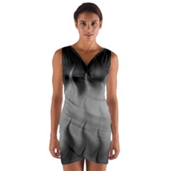 Abstract Black Grey Wrap Front Bodycon Dress by SpinnyChairDesigns