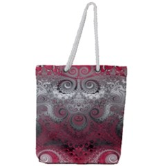 Black Pink Spirals And Swirls Full Print Rope Handle Tote (large)