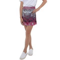 Black Pink Spirals And Swirls Kids  Tennis Skirt by SpinnyChairDesigns