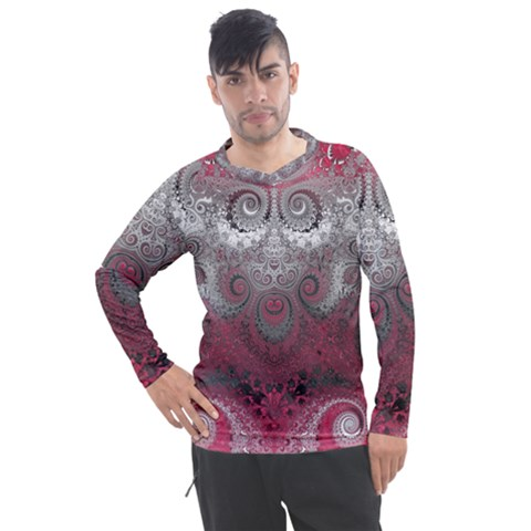 Black Pink Spirals And Swirls Men s Pique Long Sleeve Tee by SpinnyChairDesigns
