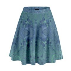 Teal Spirals And Swirls High Waist Skirt by SpinnyChairDesigns