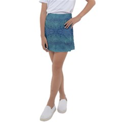 Teal Spirals And Swirls Kids  Tennis Skirt by SpinnyChairDesigns