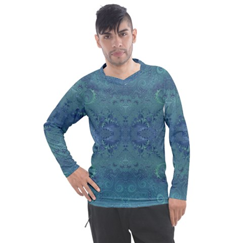 Teal Spirals And Swirls Men s Pique Long Sleeve Tee by SpinnyChairDesigns