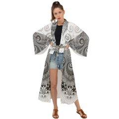 Black And White Spirals Maxi Kimono by SpinnyChairDesigns