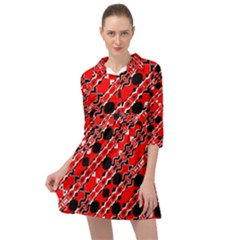 Abstract Red Black Checkered Mini Skater Shirt Dress