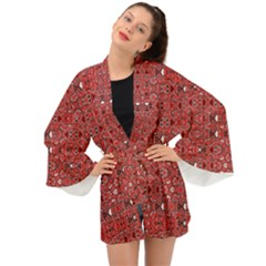 Abstract Red Black Checkered Long Sleeve Kimono by SpinnyChairDesigns