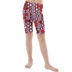 Red Black Checkered Kids  Mid Length Swim Shorts by SpinnyChairDesigns