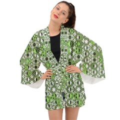 Black Lime Green Checkered Long Sleeve Kimono by SpinnyChairDesigns
