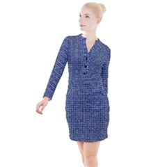 Artsy Blue Checkered Button Long Sleeve Dress