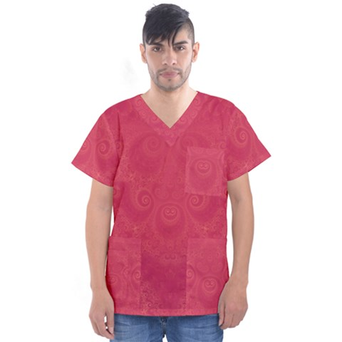 Blush Pink Octopus Swirls Men s V-neck Scrub Top by SpinnyChairDesigns