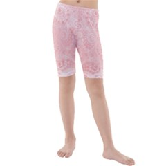 Pretty Pink Spirals Kids  Mid Length Swim Shorts by SpinnyChairDesigns