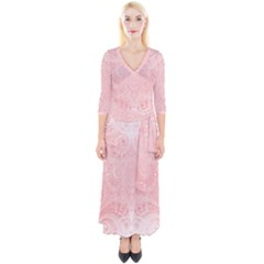 Pretty Pink Spirals Quarter Sleeve Wrap Maxi Dress by SpinnyChairDesigns