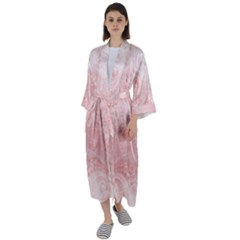 Pretty Pink Spirals Maxi Satin Kimono by SpinnyChairDesigns