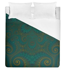 Teal Green Spirals Duvet Cover (queen Size)