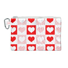 Hearts  Canvas Cosmetic Bag (large) by Sobalvarro