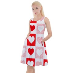 Hearts  Knee Length Skater Dress With Pockets by Sobalvarro