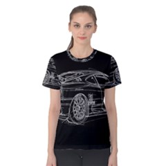6-white-line-black-background-classic-car-original-handmade-drawing-pablo-franchi Women s Cotton Tee