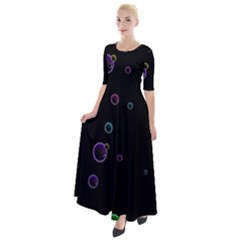 Bubble In Dark Half Sleeves Maxi Dress by Sabelacarlos