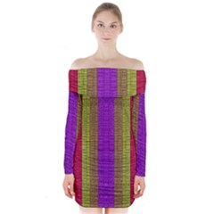 Colors Of A Rainbow Long Sleeve Off Shoulder Dress