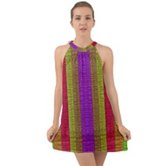 Colors Of A Rainbow Halter Tie Back Chiffon Dress