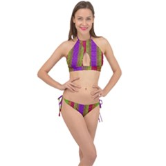 Colors Of A Rainbow Cross Front Halter Bikini Set