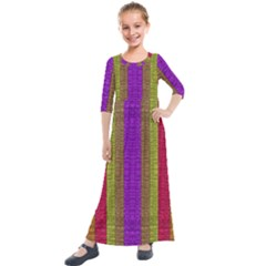 Colors Of A Rainbow Kids  Quarter Sleeve Maxi Dress