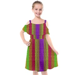 Colors Of A Rainbow Kids  Cut Out Shoulders Chiffon Dress