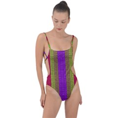 Colors Of A Rainbow Tie Strap One Piece Swimsuit