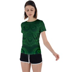 Emerald Green Spirals Back Circle Cutout Sports Tee by SpinnyChairDesigns