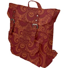Red And Gold Spirals Buckle Up Backpack by SpinnyChairDesigns