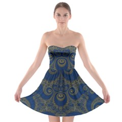 Navy Blue And Gold Swirls Strapless Bra Top Dress